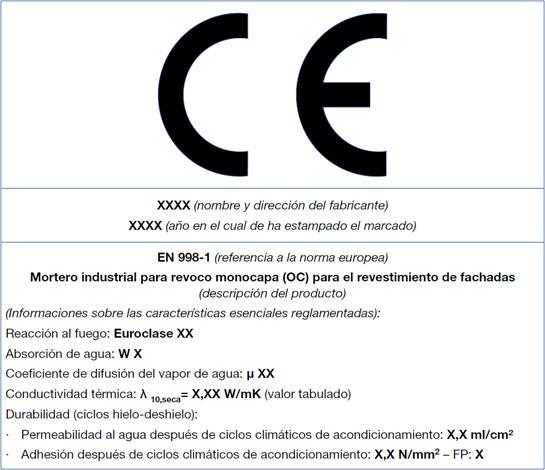Marcado CE - Morteros monocapa