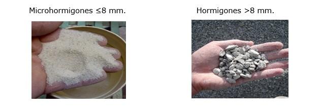 Microhormigones menos de 8mm y mayores de 8mm